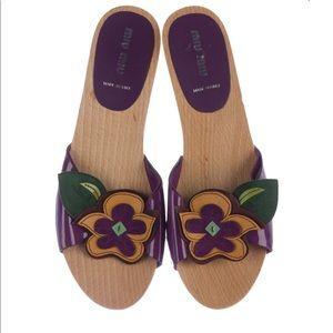 MIU MIU Floral Embellished Slide Sandals size 39.5